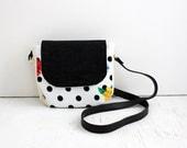 Crossbody Bag, Floral Dots / everyday bag, cross body purse, fabric handbag, fabric purse, small crossbody bag, vegan purse, crossbody purse