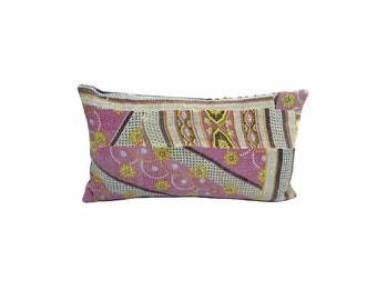 Vinatge Kantha Pillow - Abstract Pinkle Floral - 10 x 18