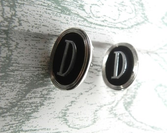 Vintage Cufflinks silver and black 50s Links with D Initial - on sale
