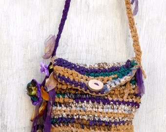 Eco friendly crocheted purse in mustard green purple, Gypsy fairy bag, fabric scraps bag with flowers and leaves, Tagt