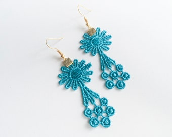 Blue Jazz Venise Lace Earrings—Free Shipping!