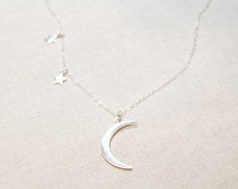 Sterling Silver Starry Night Necklace   Moon and Stars Necklace