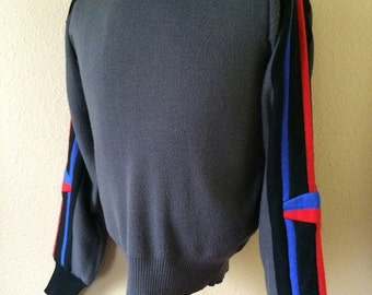 Vintage Men's 80's Ski Sweater, Grey, Acrylic, Wool, Striped by White Stag (M)