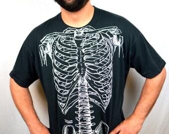 RARE Vintage 1970s 80s Skeleton Tee Shirt Tshirt