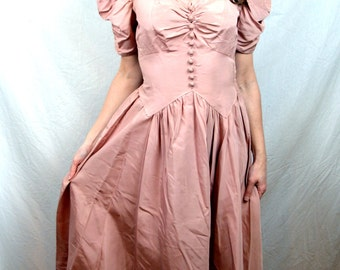 Lovely Vintage 1950s Rose Pink Dress Gown