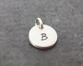 Hand Stamped Charm - Sterling Silver Round Disc - Personalized Charm