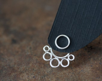 Handcrafted silver ear jacket earrings, front and back earring, solid sterling silver circles, geometric bubble earrings, trendy earrings
