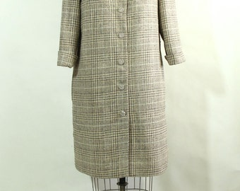 Plaid Silk Coat with Beaded Collar and Jewel Buttons