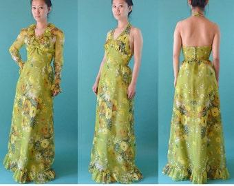 Vintage 60s Dress Maxi HALTER Dress Sheer BOHEMIAN Floral Dress / Empire Waist Backless Dress / 1960s Long Maxi Dress & Sheer Bolero  XS / S