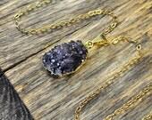 Druzy Necklace, Druzy Pendant, Druzy Jewelry, Gold Druzy Necklace, Gold Druzy Pendant, 14k Gold Fill Chain