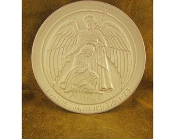 The Annunciation – 1973 Frankoma Christmas Plate – Vintage Sapulpa Clay Frankoma Pottery