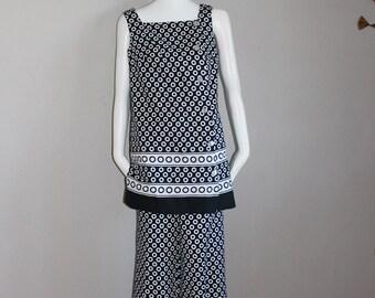 Vintage Swinging Sixties Black And White Pantsuit or Dress Op Art