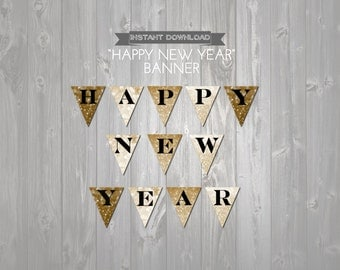 Happy New Years Eve Banner - INSTANT DOWNLOAD - Printable Black and Gold Glitter Printable Banner - Sparkly New Years Eve Party Decorations