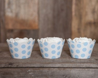 12 Light Blue Polka Dot Cupcake Wrappers - Blue Cupcake Wrappers - Great for Birthday Parties, Baby Showers & Bridal Showers - Large Dot