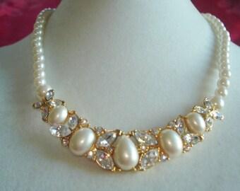 Trifari Pearl Gold Tone Rhinestone Necklace