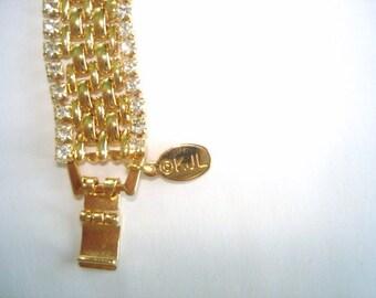 KJL Bracelet Clear  Rhinestone Gold Tone