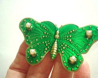 Butterfly Animal  Vintage Jewelry Green  Pearl Brooch Tone