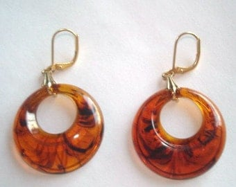 Tortoise Lucite Dangle Earrings Gold Tone