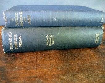 Vintage Decorative Books - Navy Books - English Literature - Book Decor - Blue Books - Edmund Spencer- Classroom Decor