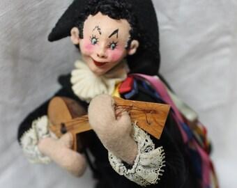 Klumpe Roldan Musician Jester Felt Cloth doll 1950s Spain VINTAGE by Plantdreaming