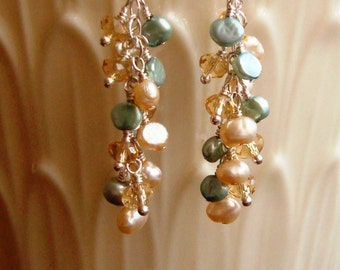 Wire Wrapped Brown Crystal Rondelles, Soft Brown and Green Pearl Cascade Dangle Sterling Silver Earrings