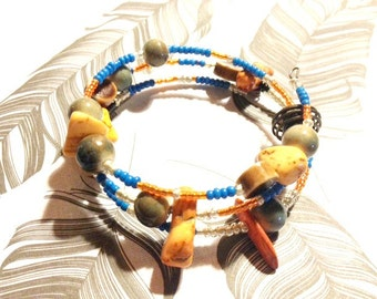 "Memory Bracelet - Beaded - Orange Turquoise and Seed Beads - ""Stretching Miles"""