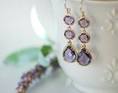Purple wedding, Lavender earrings, Long Purple earrings, Purple jewelry, Purple drop earring, Purple bridesmaids earrings