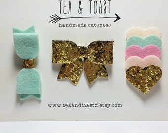 mint & pink hair bow clip set, gold glitter bow and layered hearts