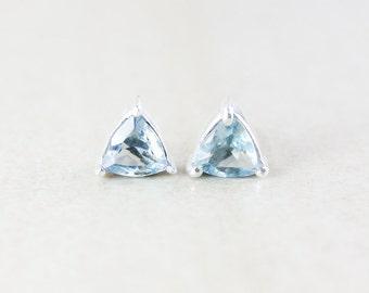Sky Blue Topaz Studs - Triangular Cut - Silver Fill