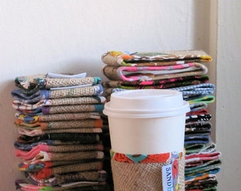 Groovy Girl - Floral Upcycled Burlap Coffee Cup Sleeve - Reversible Vintage Floral Fabric - Cup of Joe Jacket - Under 10 Eco Gift Coffee Luv