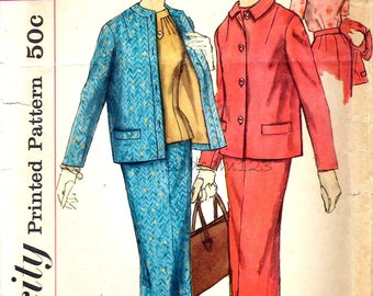 Vintage 1950s Pattern Pleated Blouse Pencil Skirt and Button Front Jacket Suit 1957 Simplicity 2217 Bust 35