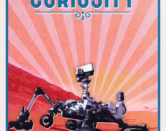 NASA Curiosity rover vintage travel poster