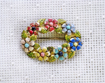 Antique Vintage Victorian Enameled Oval Floral Brooch Pin (B-2-4)