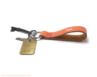 Tangerine Leather personalized Keychain, Womens gift
