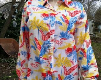 Womens 80s Shirt/ Vintage Blouse/ 80s Blouse / Vintage Shirt by Jack Winter Size 14