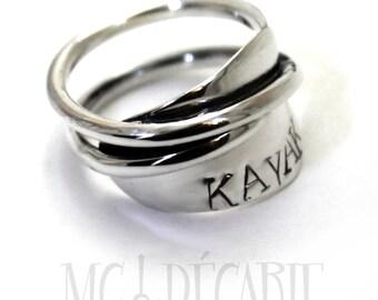 KAYAK ring, paddle silver ring, kayak paddle jewelry, kayak lovers gift ideas, handmade wrapped kayak paddle ring