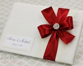 Wedding Guest Book Ivory and Scarlet Red Custom Made in your Colors