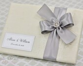 Wedding Guest Book Cream Ivory Silver Custom Made in your Colors