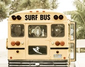 Surfing USA - Southern California Travel Photography -  Fine Art Photography Print - Surf School Bus Wall Art - FREE SHIPPING