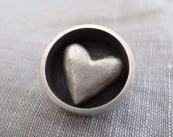 circle heart pin - sterling silver