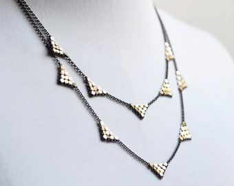 2-Tier Triangle Station Necklace - Gold