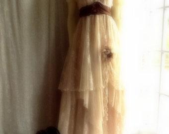 "Made to Order..""Belle""..in .Dark Champagne Vintage Slip Tea Chantilly Lace Altered Vintage Inspired Wedding Dress"