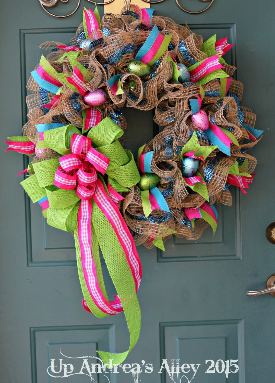 Spring Burlap Wreath Easter Wreath Spring Wreath Easter Egg