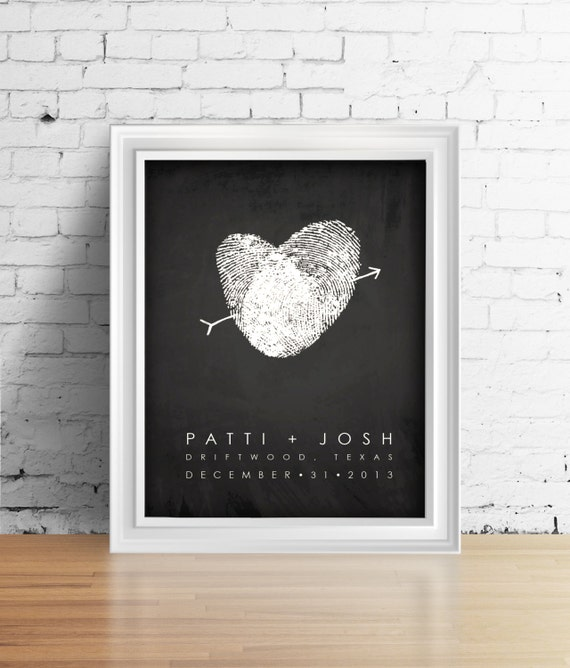 Chalkboard Style Unique Wedding Guest Book Alternative with Your Fingerprint - Black and white