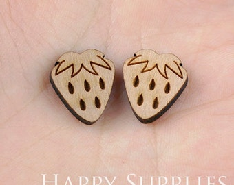 4pcs (SWC14) DIY Laser Cut Wooden Strawberry Charms