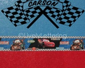 Checkered Flag with Personalized Name wall decal, cars wall art, boys room decor, boy room decals, car racing theme, vinyl lettering W00300