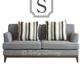 Initial Monogram with Insignia Frame wall decal, popular monogram decal, teen bedroom decor, Family Name vinyl decal (W01005)