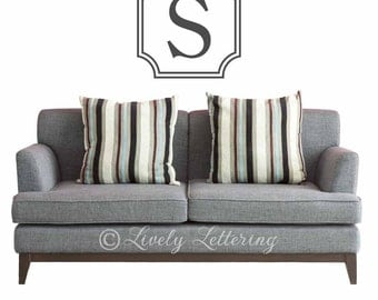 Single Initial Monogram Wall Decal with Frame Border, modern wall decal, Family Name wall decor, teen bedroom vinyl lettering (W01005)