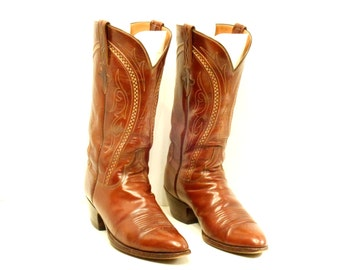 Vintage Lucchese Cowboy Boots // Cognac Leather Semi Pointy Toe (9 1/2 D)