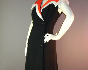 60s dress 1960s vintage RED BLACK WHITE double breasted buttons A line mod new old stock dress